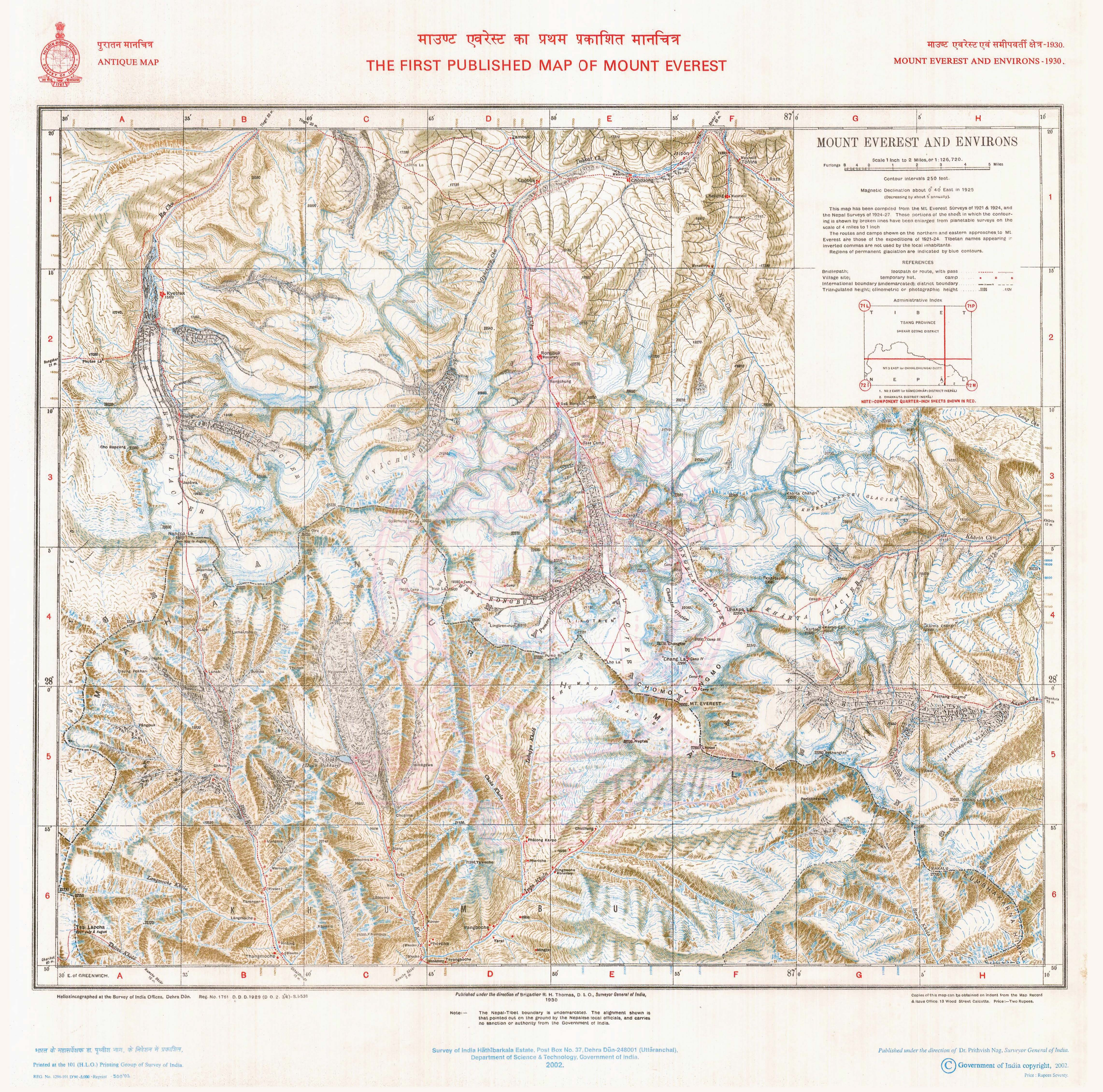 Antique Maps Survey Of India - Old maps for sale online
