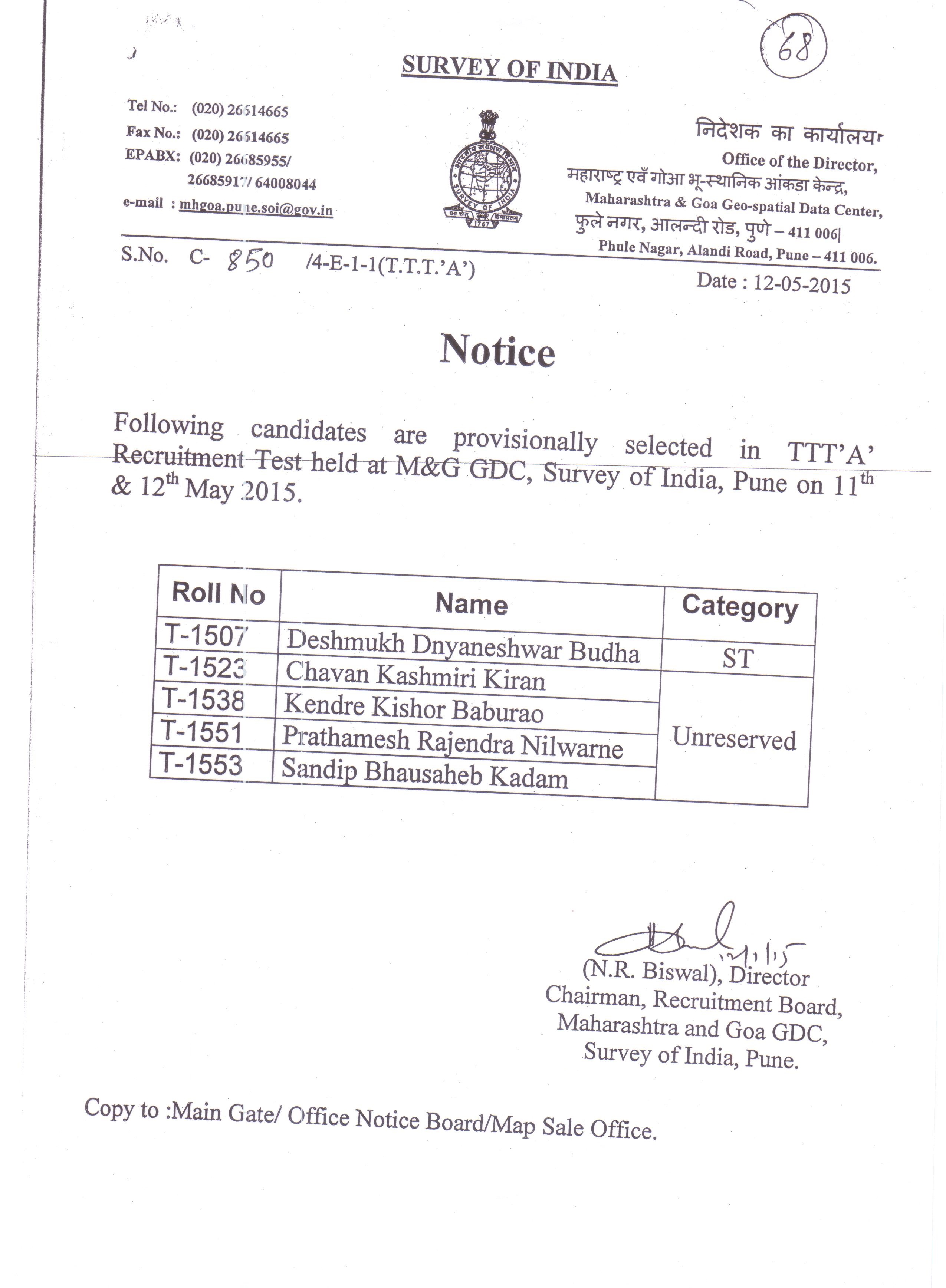 List of GDCs/Offices/ Directorate: Survey of India