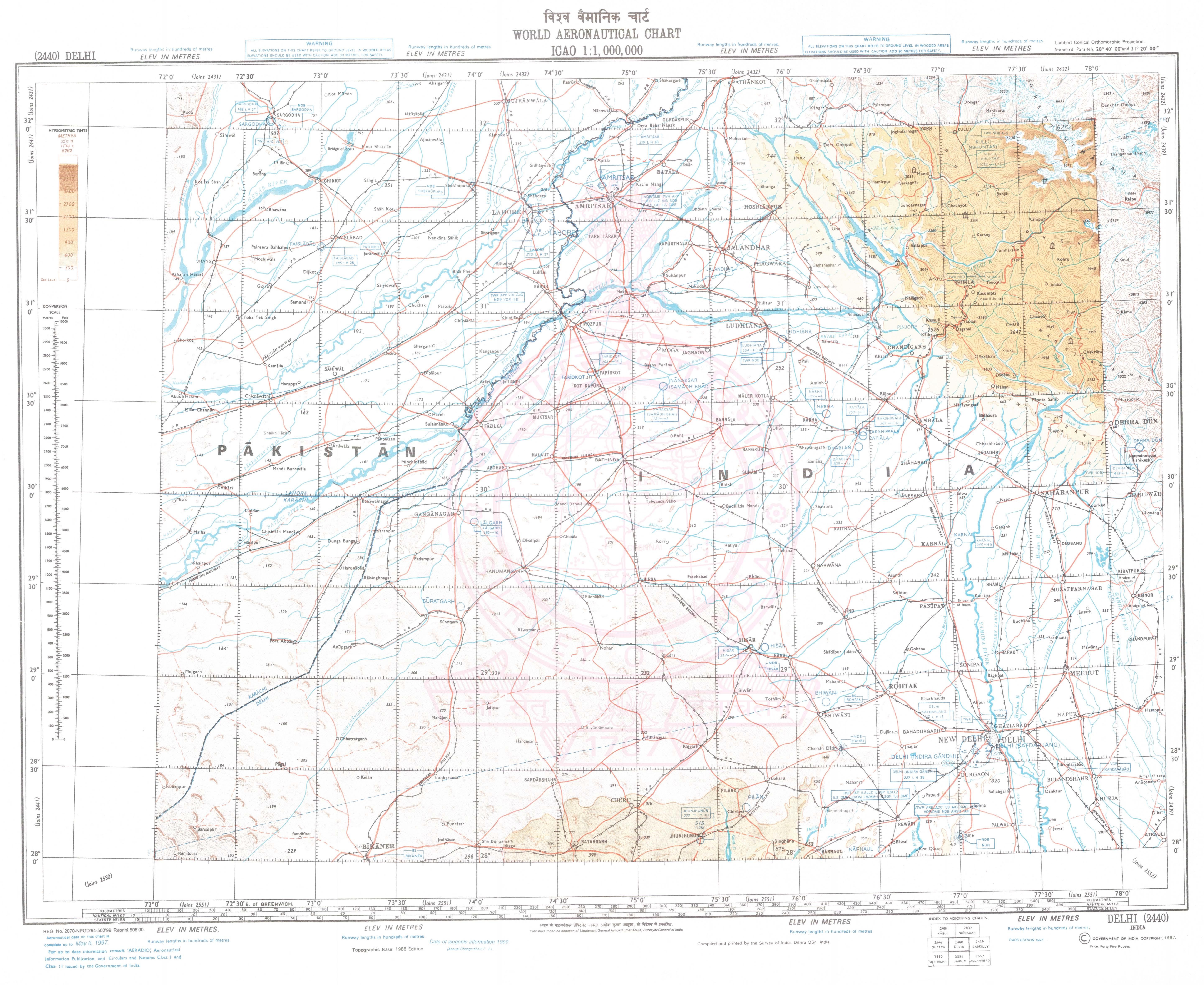 Aeronautical Charts and Maps: Survey of India